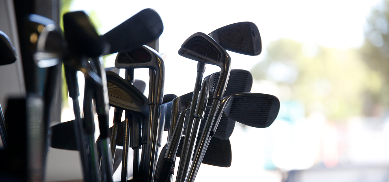 Donated golf clubs at the Recycling Shop