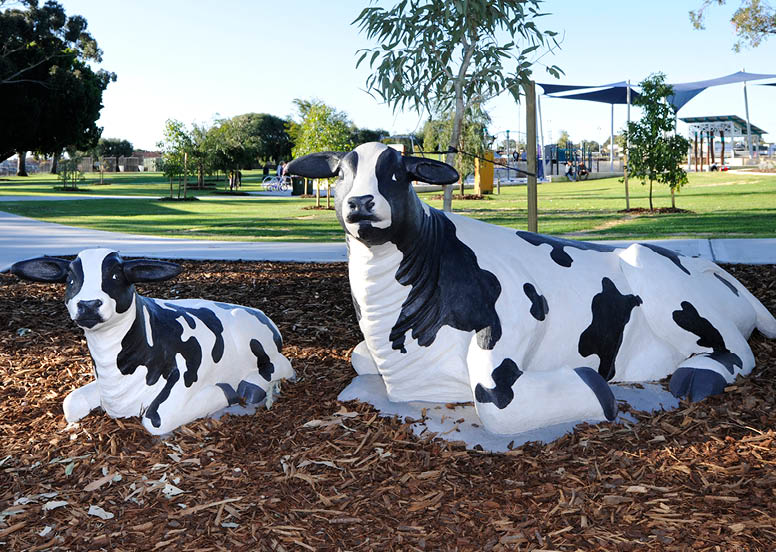 Olive and Daisy are cows created by Artist Mehdi Rasulle