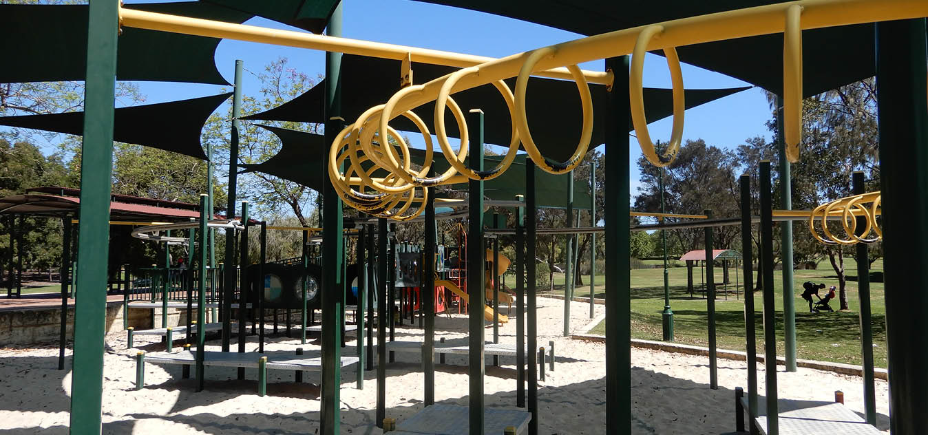 Wear and tear to monkey bars at Stirling Civic Gardens playground